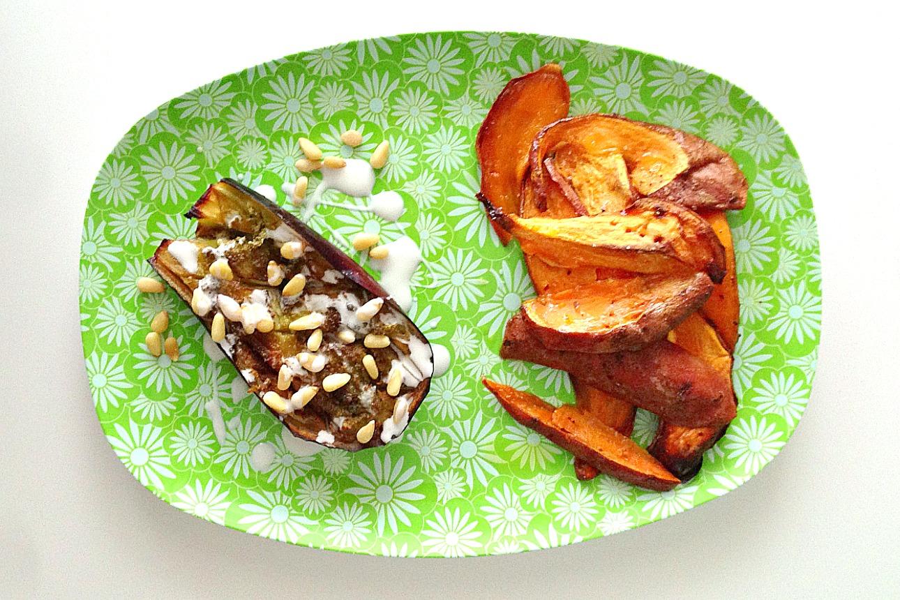 recept aubergine zoete aardappel