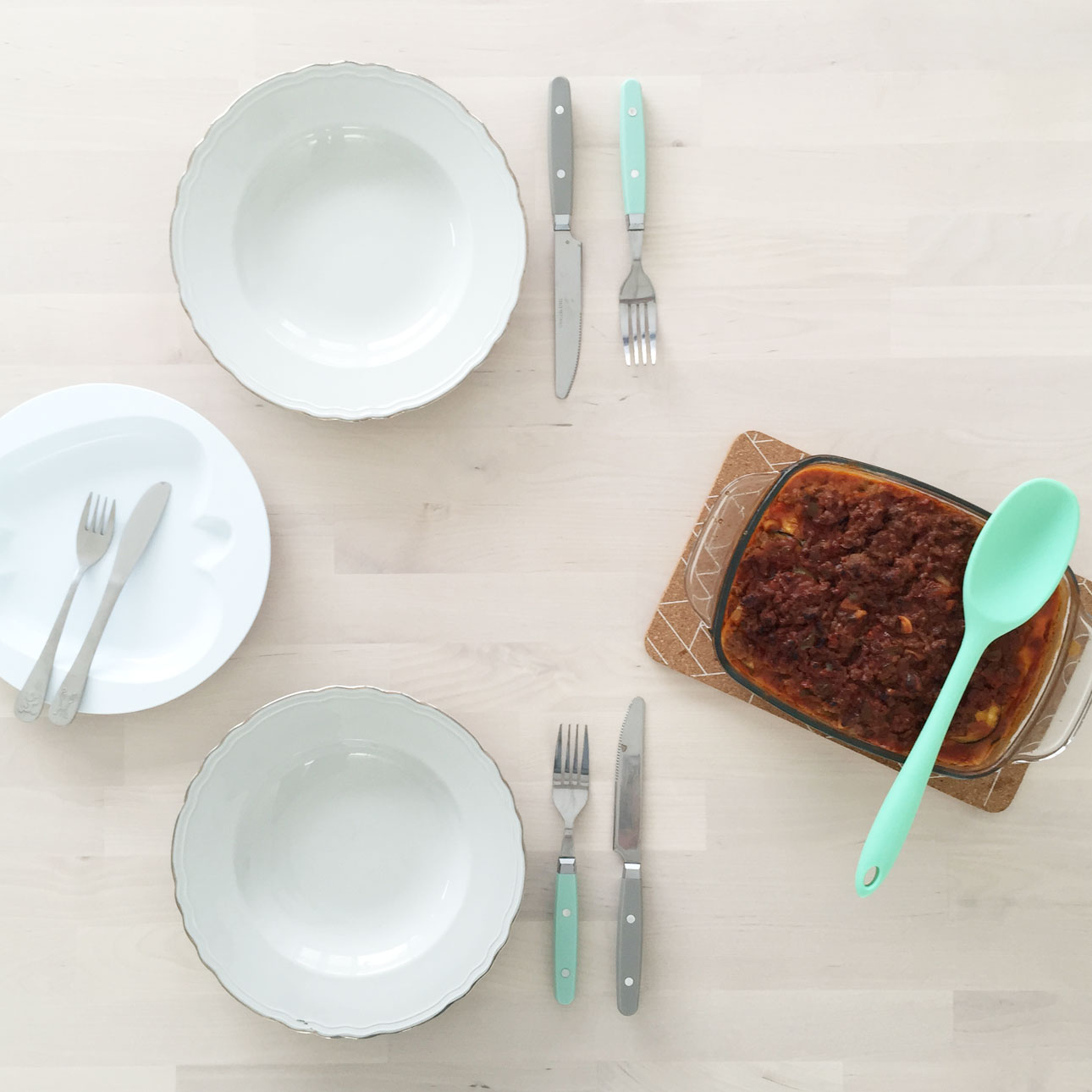 lasagne recept aan tafel