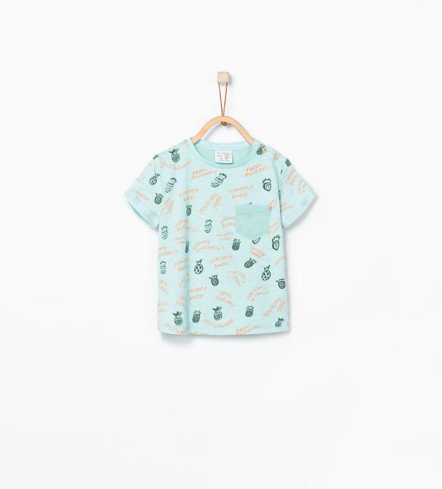 Ananas - blauw t-shirt van de Zara