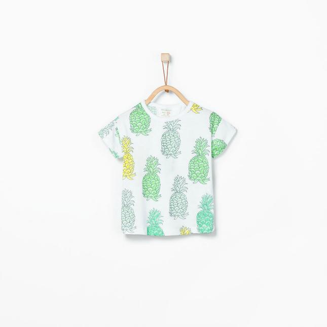 Ananas - wit/groen t-shirt van de Zara
