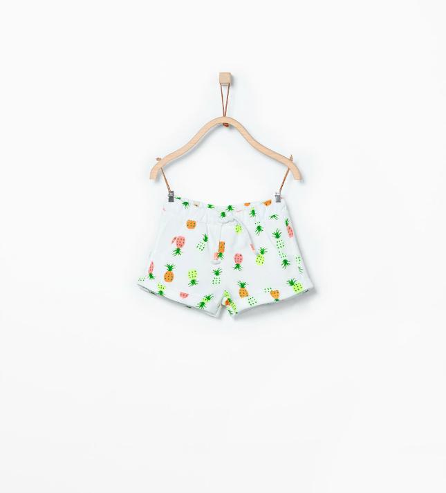 Ananas - wit short met neon van Zara