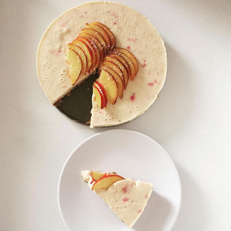 yoghurttaart met perzik - recept healthy taart
