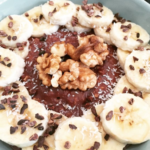 Havermout met kokos en chocolade