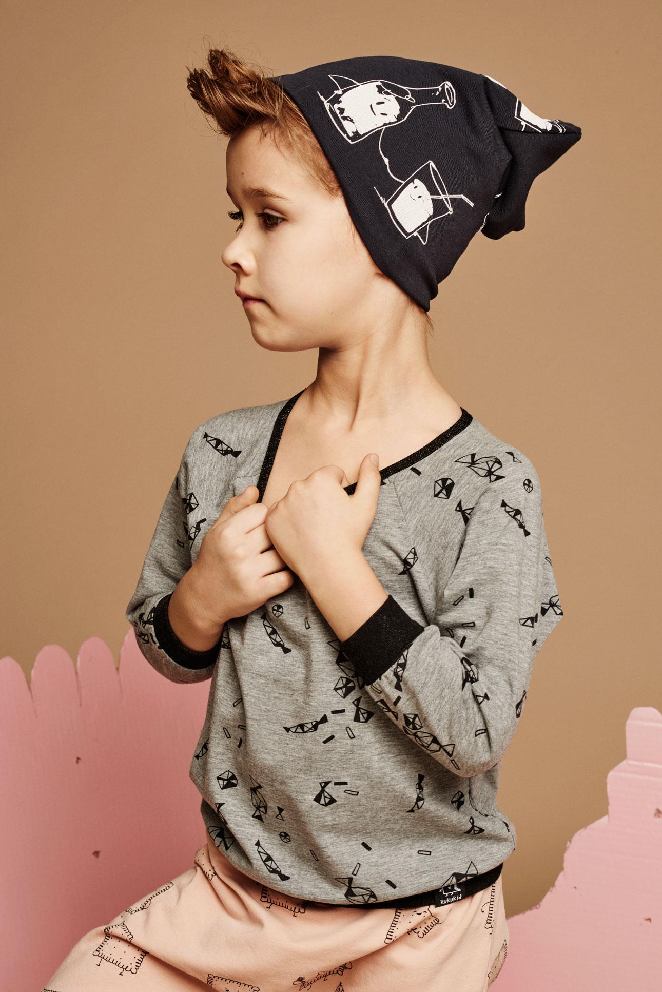 Kukukid AW15 jongen grijze trui roze broek
