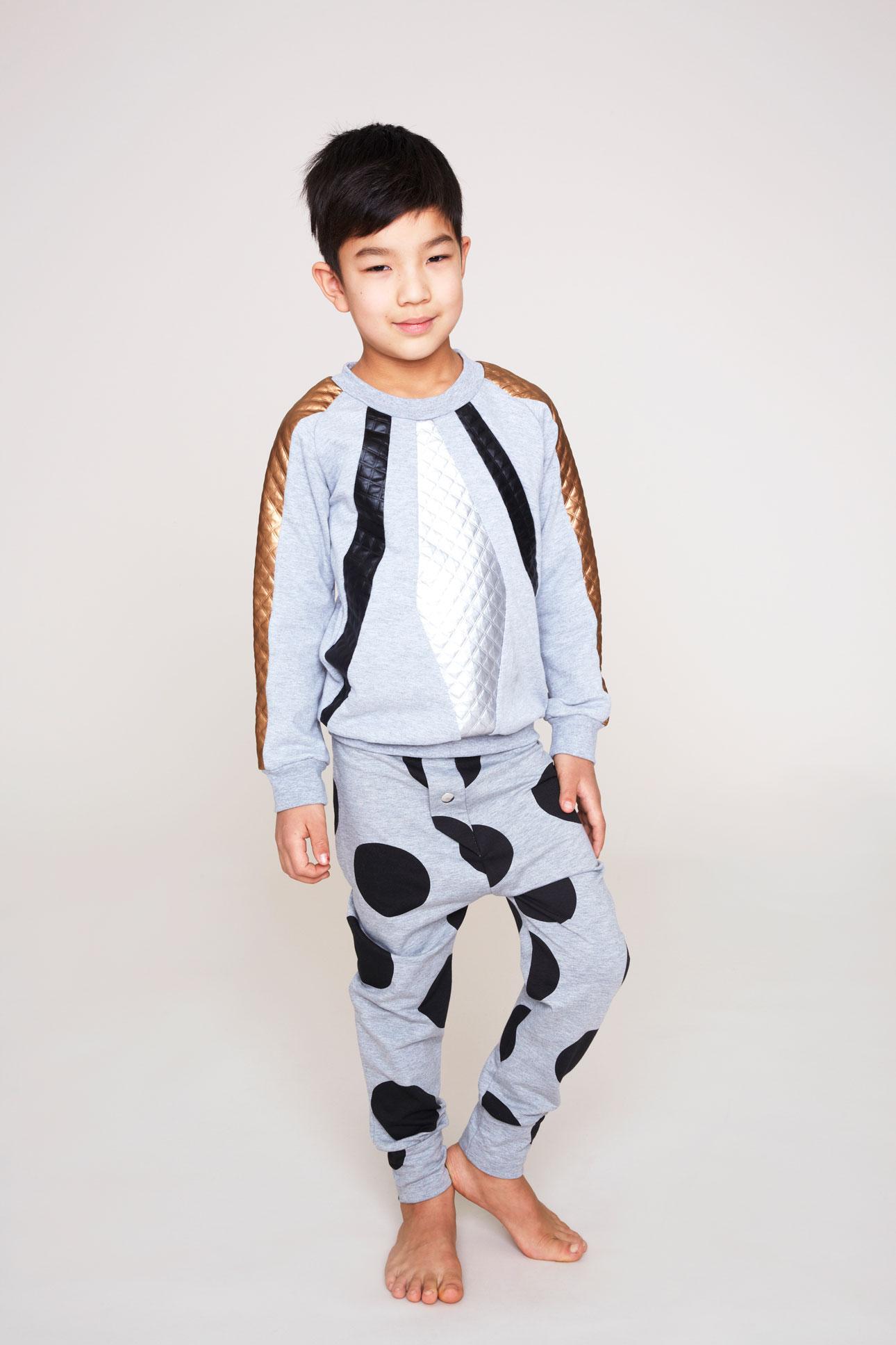 Bang Bang Copenhagen aw15 jongen grijs koper trui stippenbroek