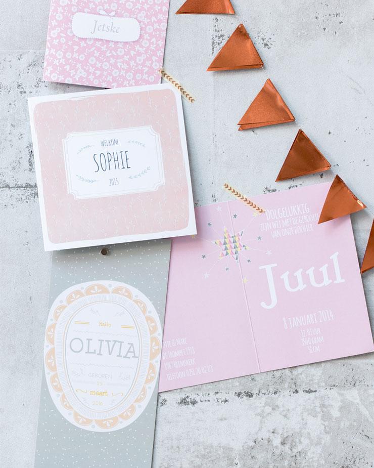 Geboortekaartjes Lief Leuk en Eigen roze