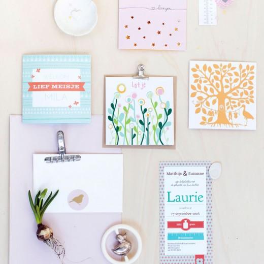 Geboortekaartjes van Lief Leuk en Eigen roze geel