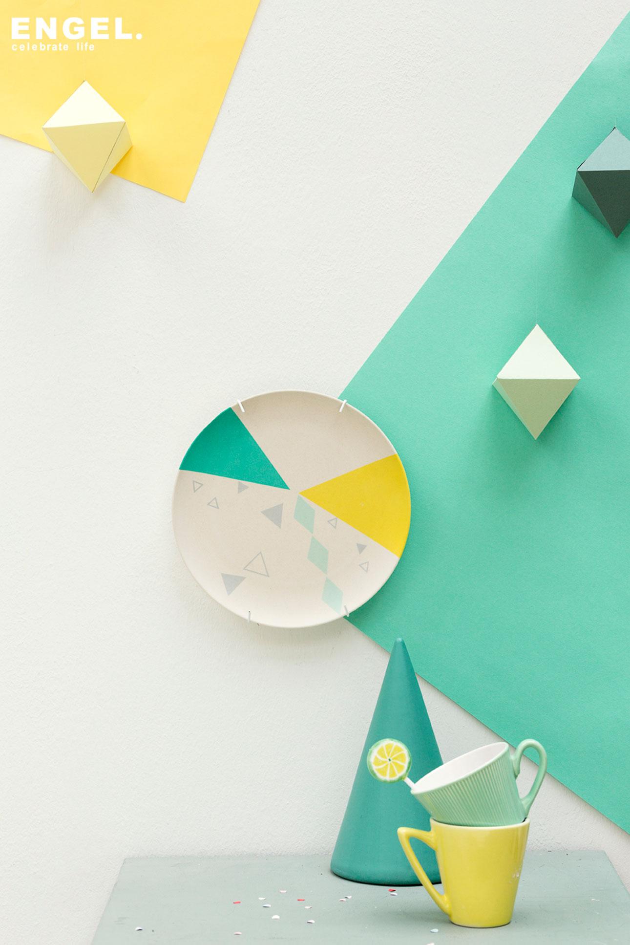 engelpunt bamboe servies plate triangles engelpunt
