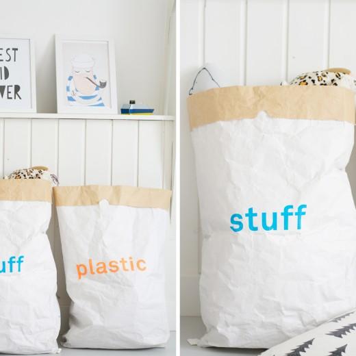 paperbags - speelgoed opbergen - paper bags van kolor