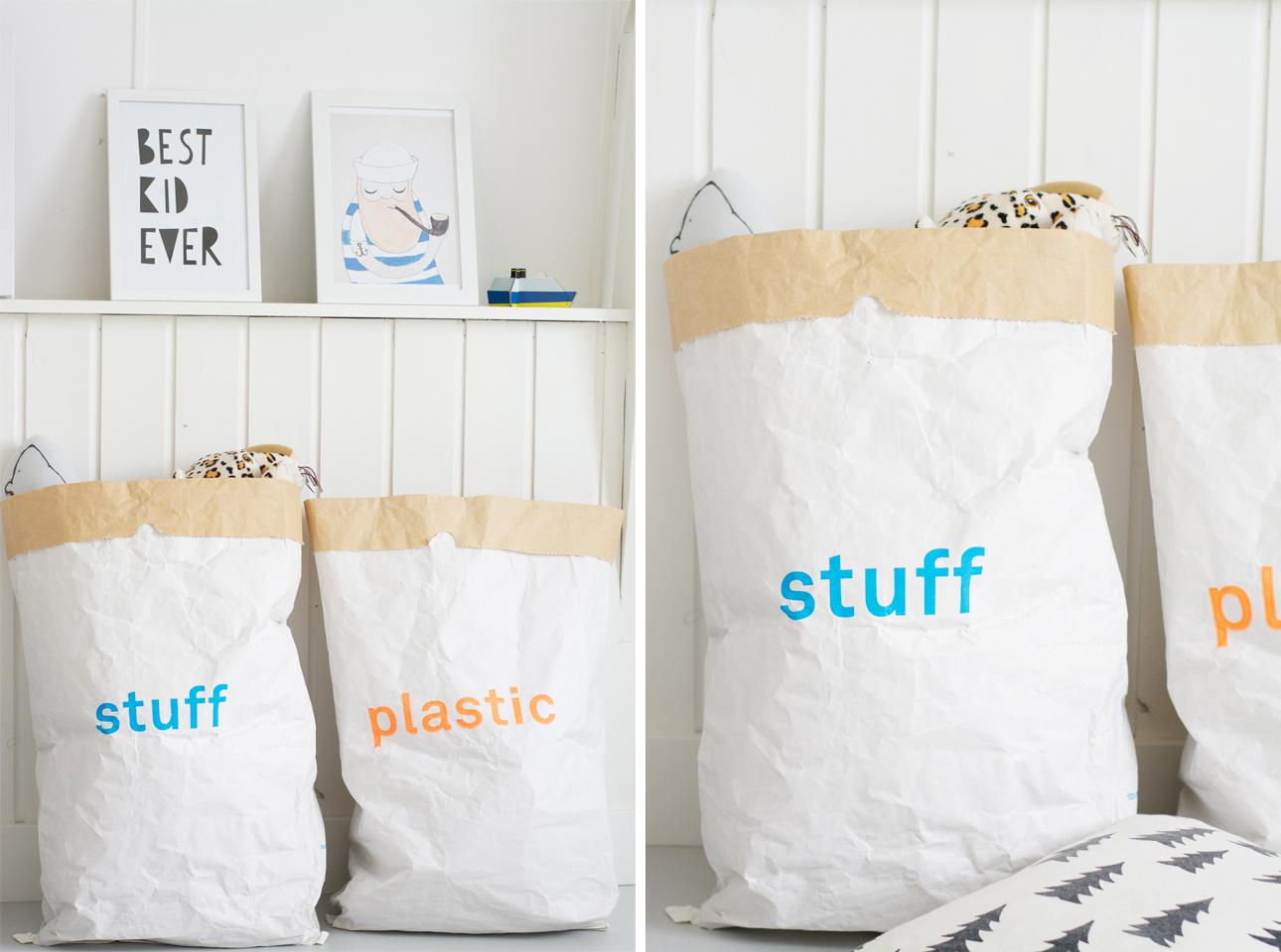 Speelgoed opbergen: paper bags van Kolor - Mamalifestyle.nl