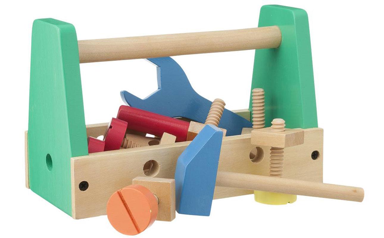 hema houten speelgoed gereedschapskist