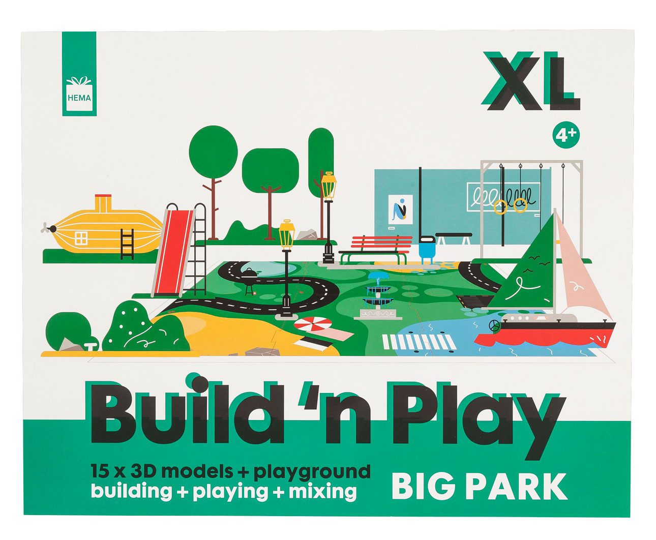 hema papieren speelgoed papieren stad groen set