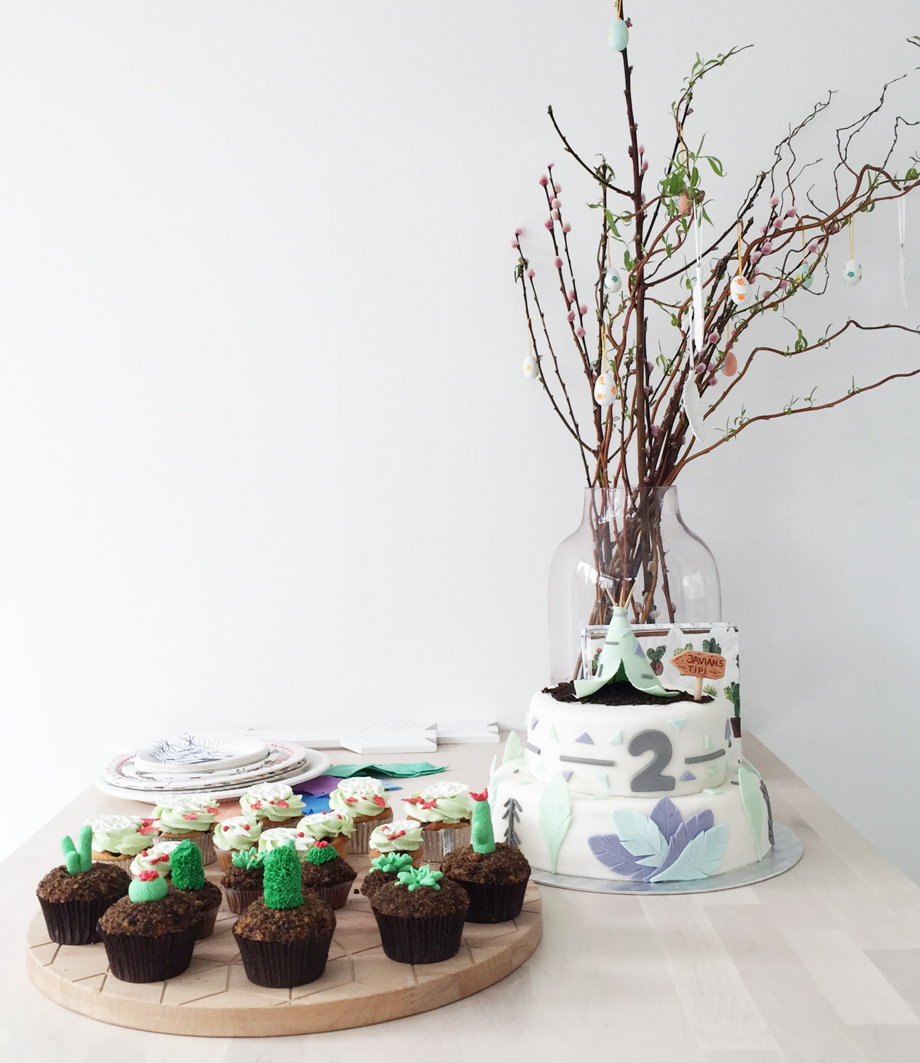Indianen kinderfeestje pastel taart cupcakes