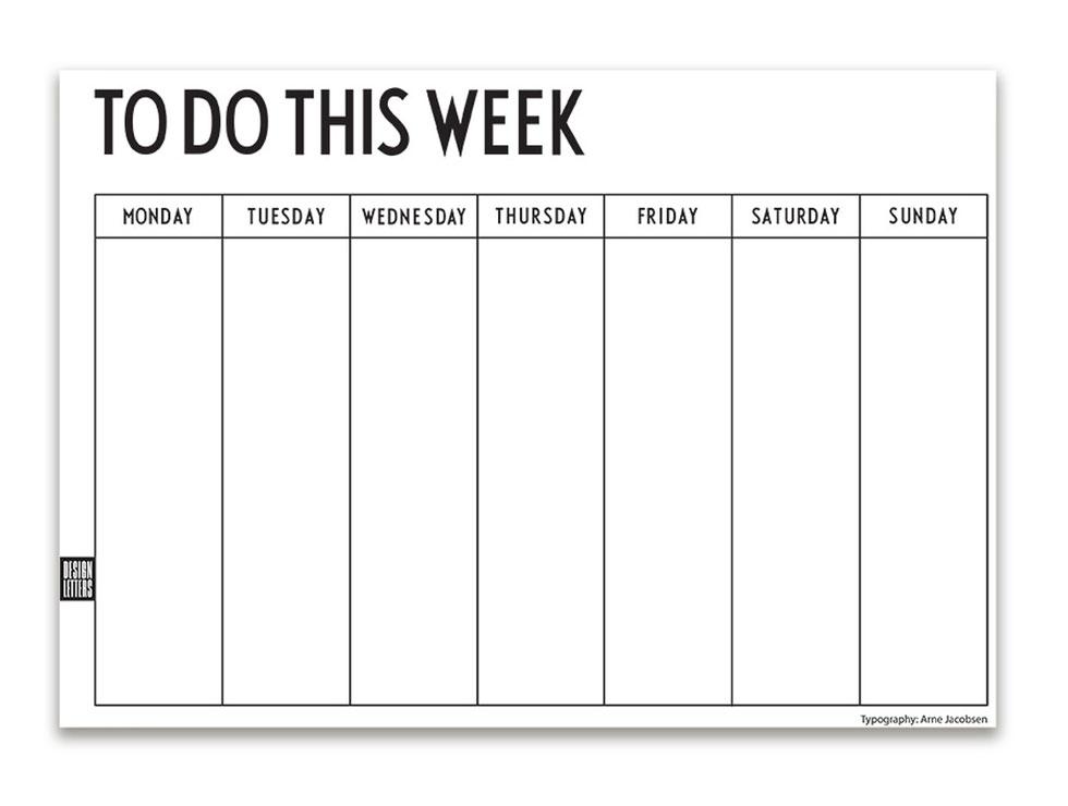 design letters week planner