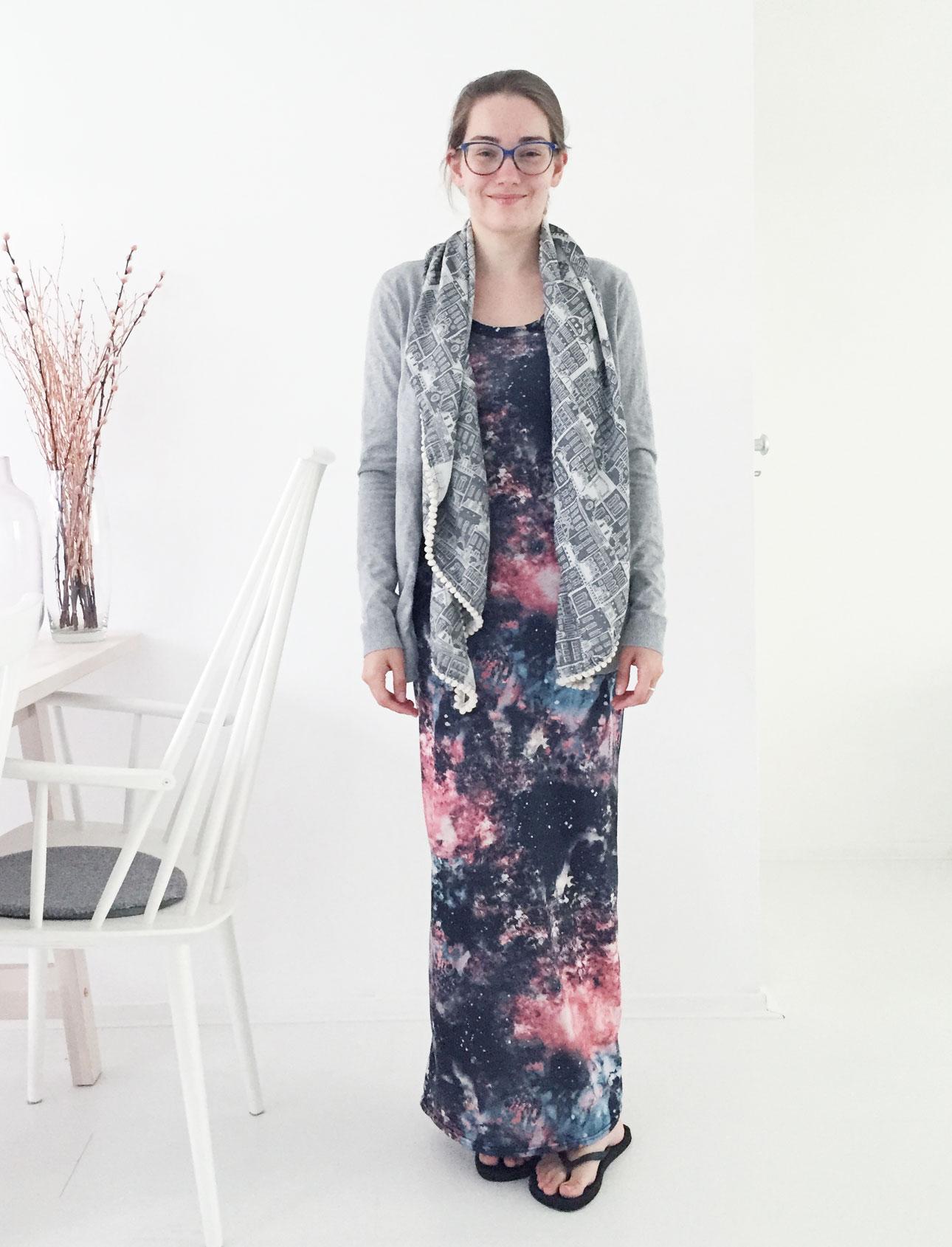 OOTD Marike galaxy maxi dress vest sjaal