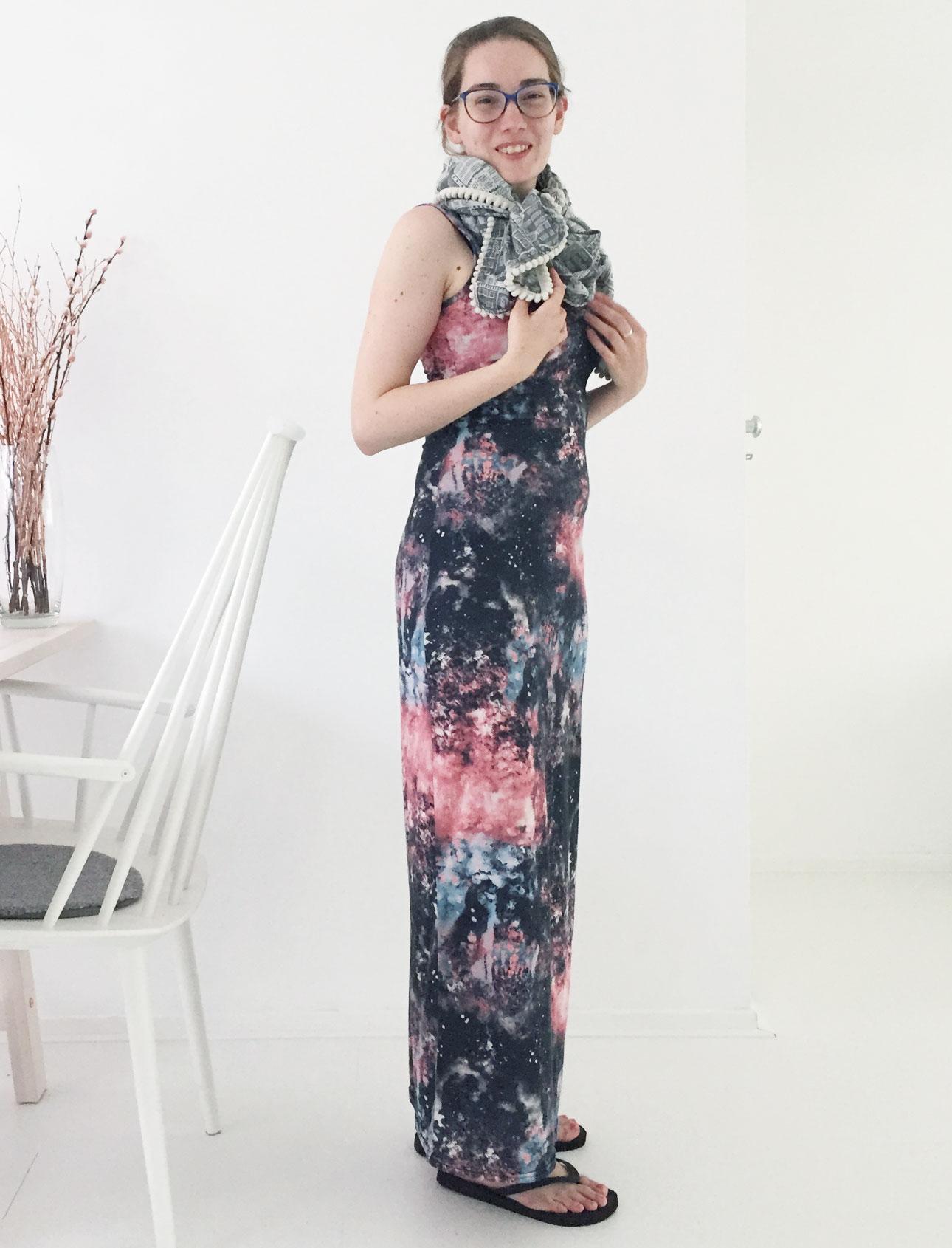 OOTD Marike galaxy maxi dress sjaal pom amsterdam