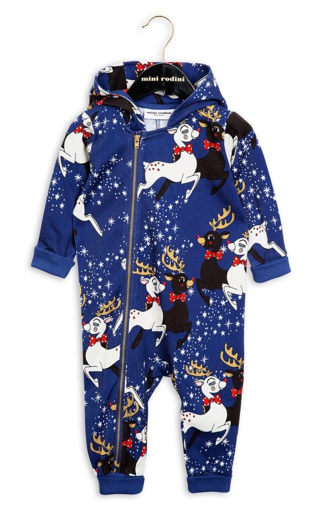 mini rodini xmas onesie reindeer blauw