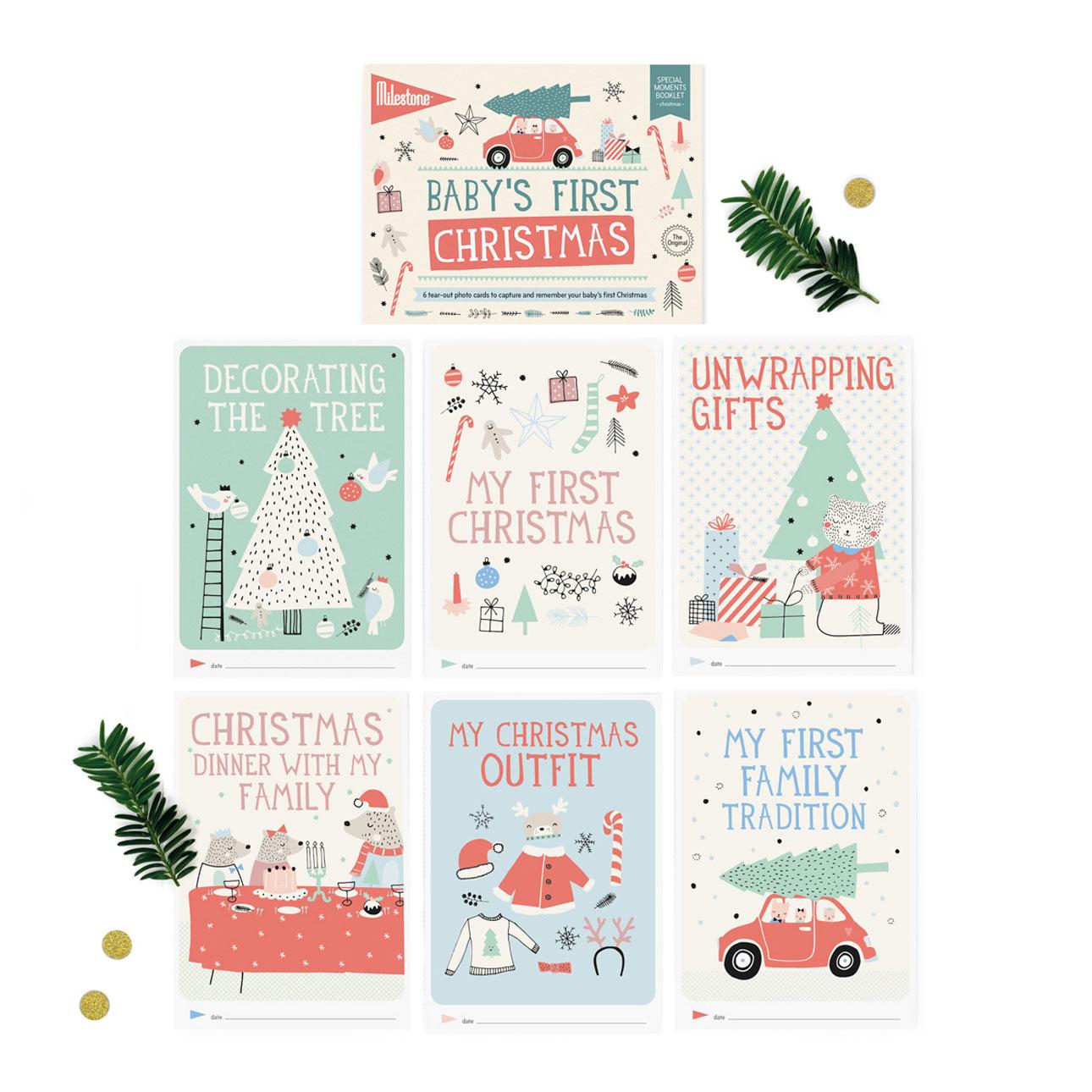 milestone booklet baby's eerste kerst kaarten