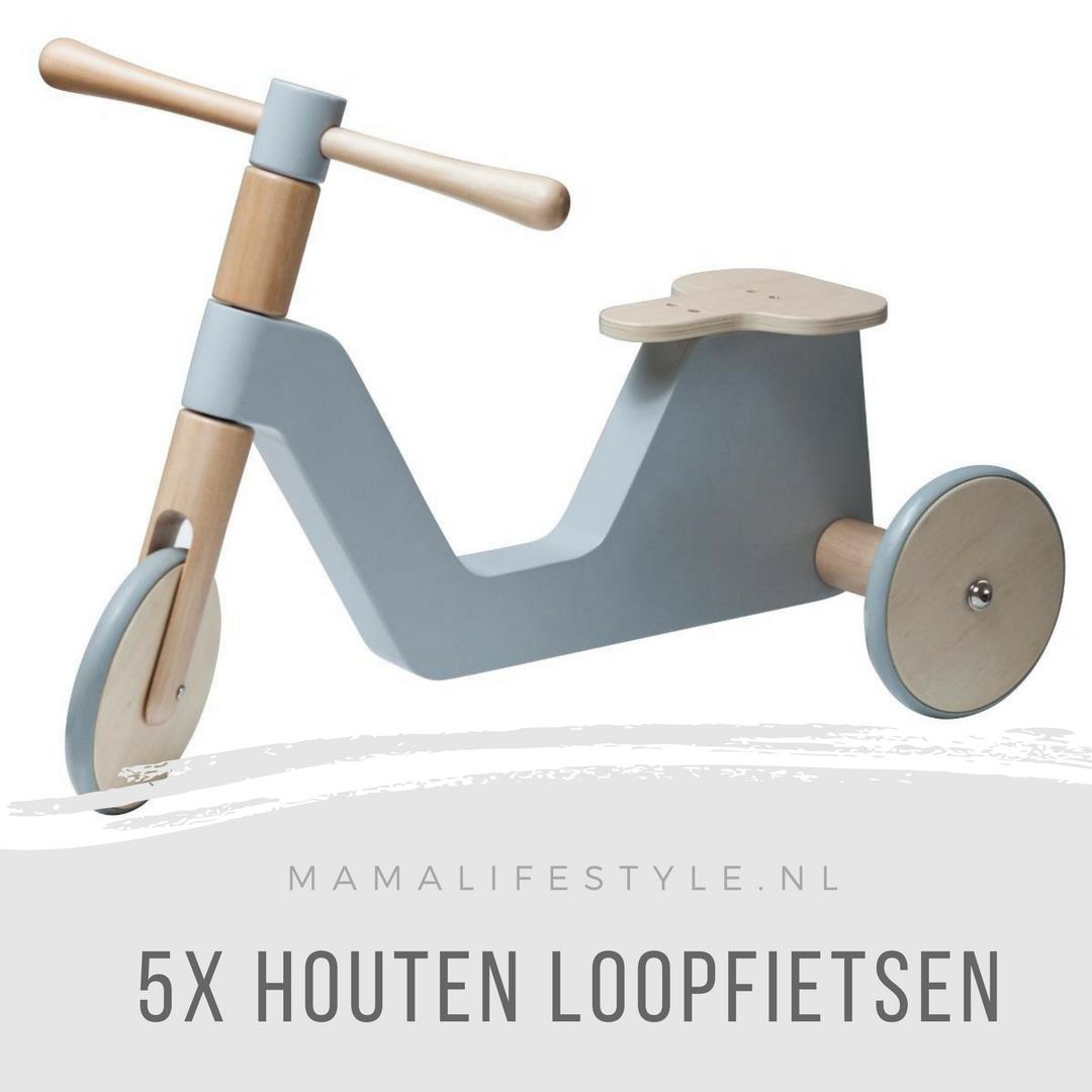 5x houten loopfietsen