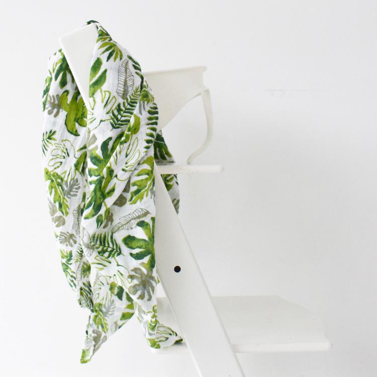 senne jungle party stokke stoel hydrofiel doek botanical