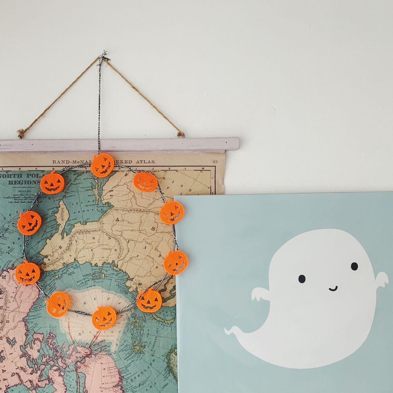 Halloween krans pompoenen diy