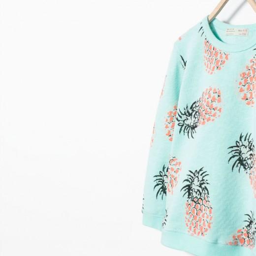 Ananas - lichtblauwe trui van de Zara
