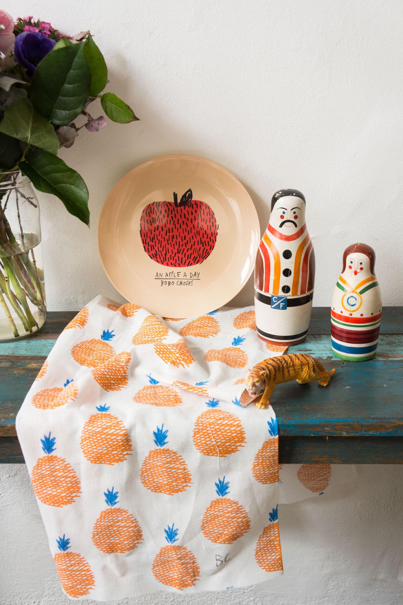 Bobo Choses maison wooncollectie - bord appel, theedoek sinaasappel