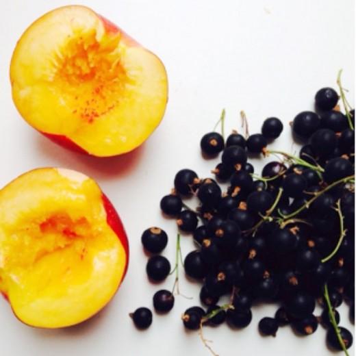 crumble met nectarine en blauwe bessen ingredienten