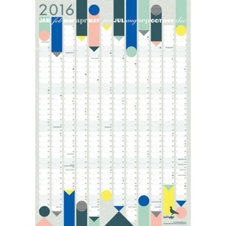 Lollipop designs kalender 2016