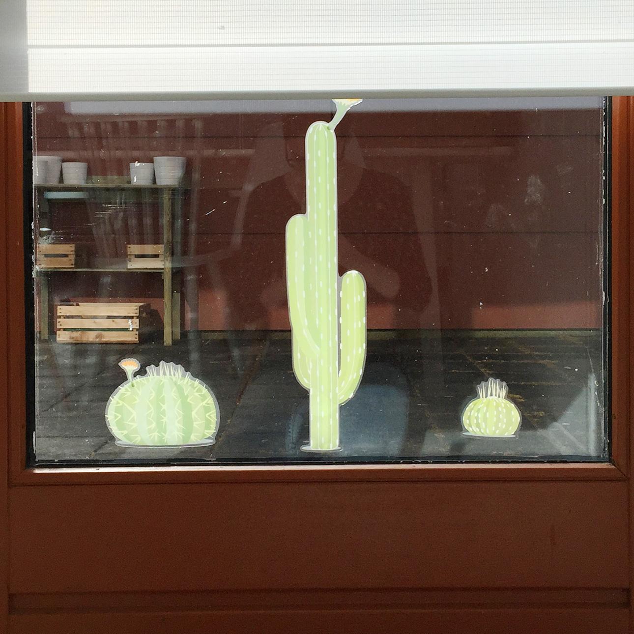 Indianen kinderfeestje cactussen raamstickers