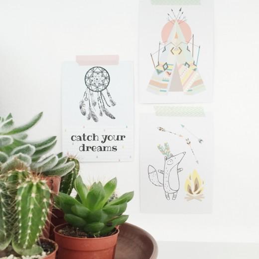 Indianen kinderfeestje pastel cactus kaarten