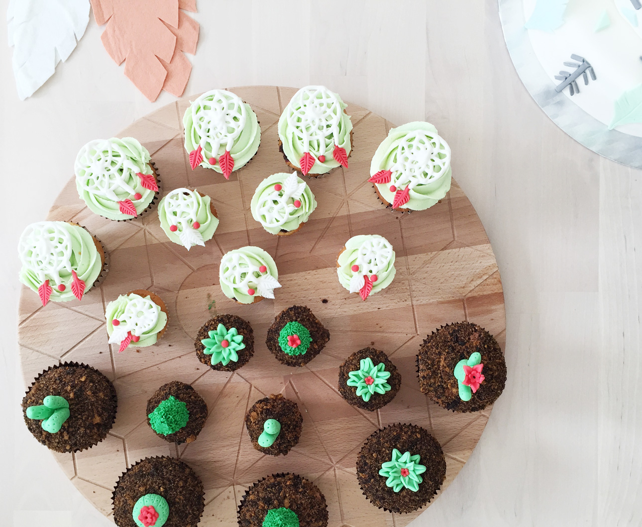 Indianen kinderfeestje pastel cupcakes