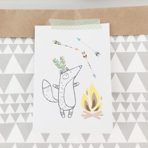 Indianen kinderfeestje pastel kaart opbergzak