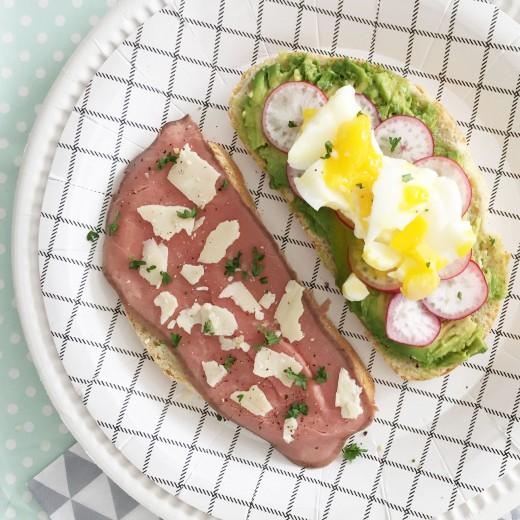 luxe broodjes rosbief avocado ei