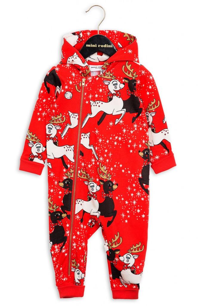 mini rodini xmas onesie reindeer red