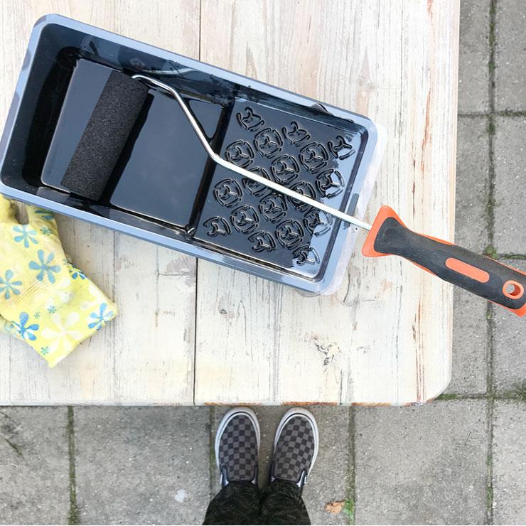 mamalifestyle project tuinset zwart verven beits
