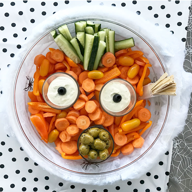 halloween snack pumpkin face wortel dipsaus halloween