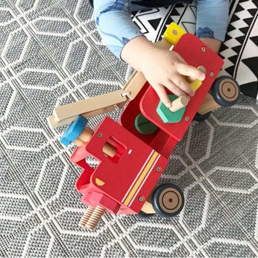 hema houten speelgoed houten constructie-auto
