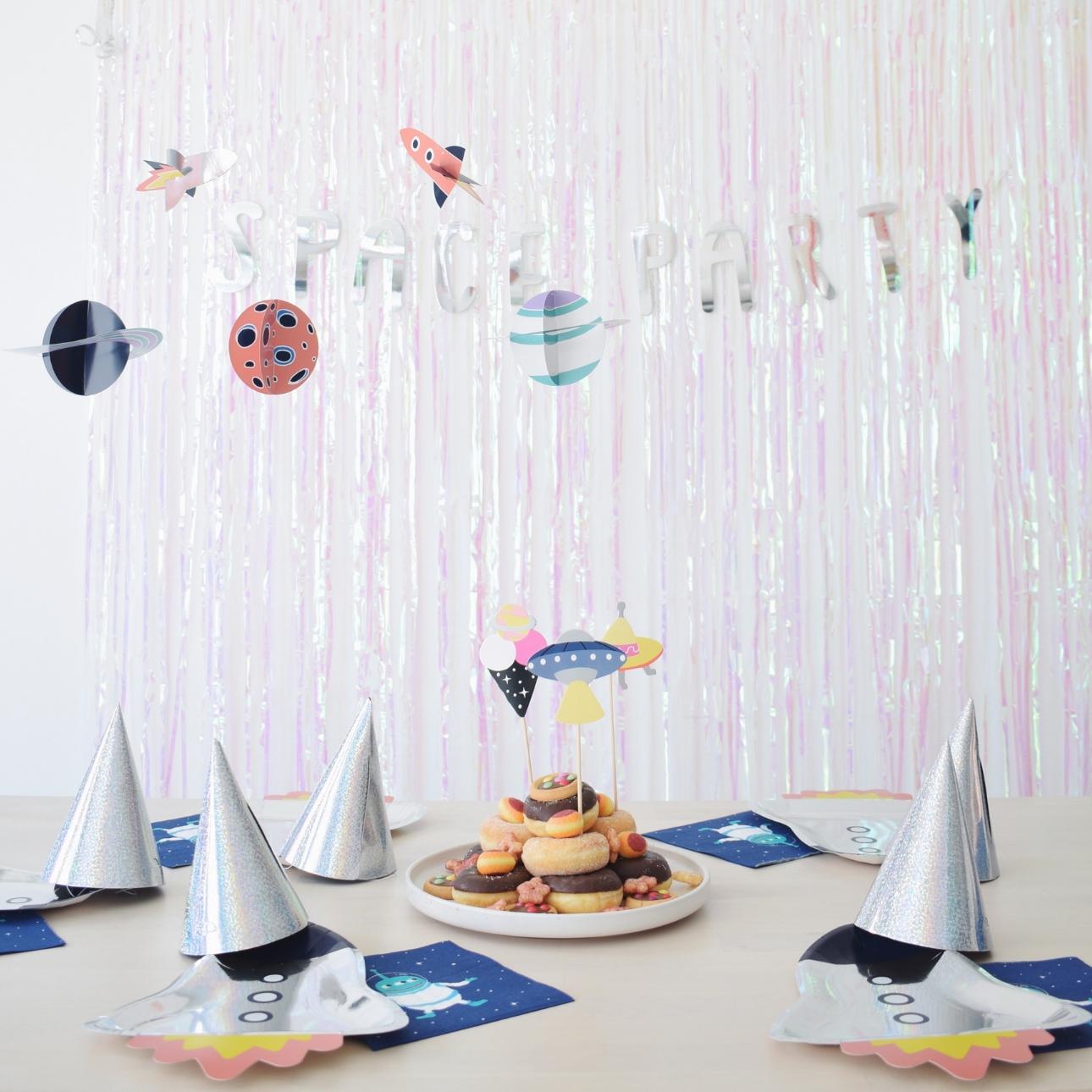 space party kinderfeestje tafel donuttaart