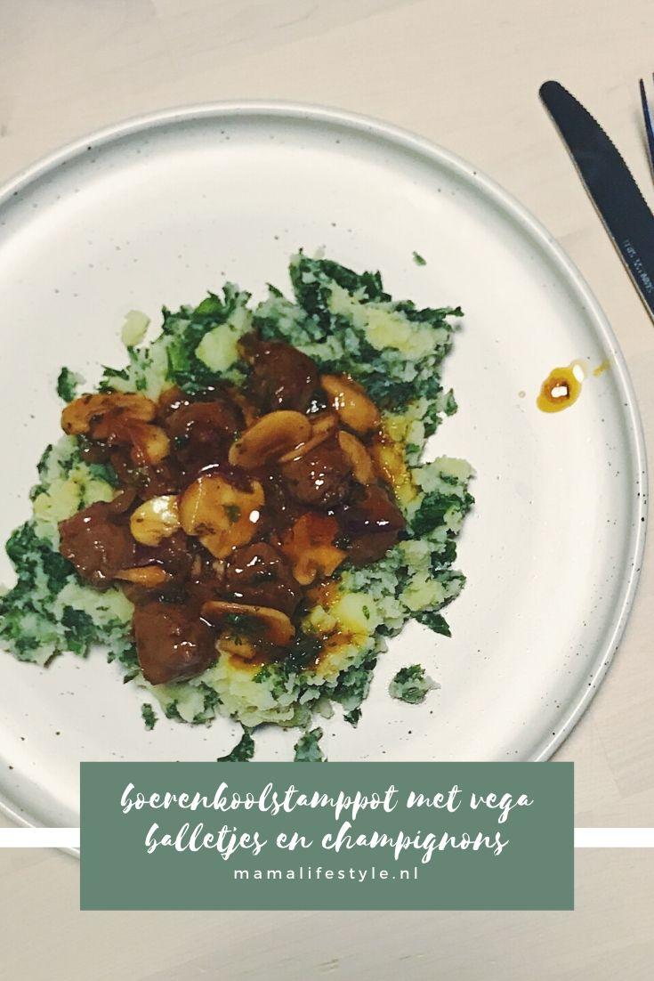Pinterest - boerenkoolstamppot vega balletjes champignons