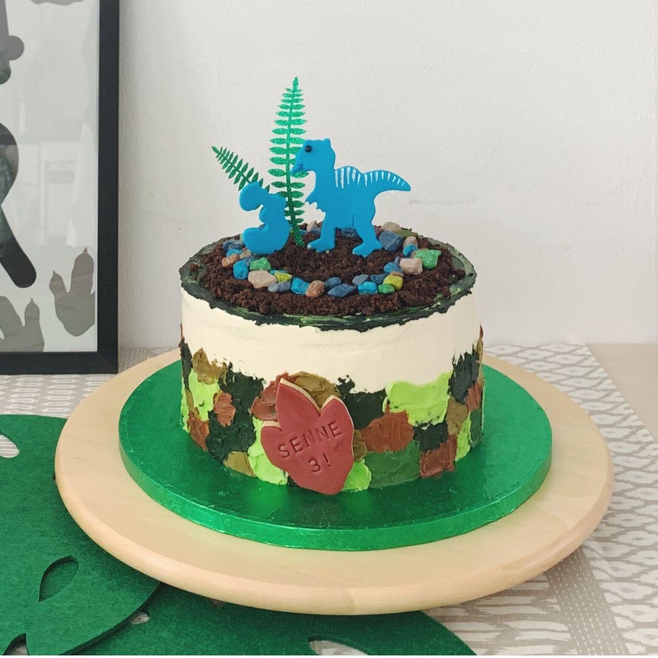 Dino feest taart dino threerex party