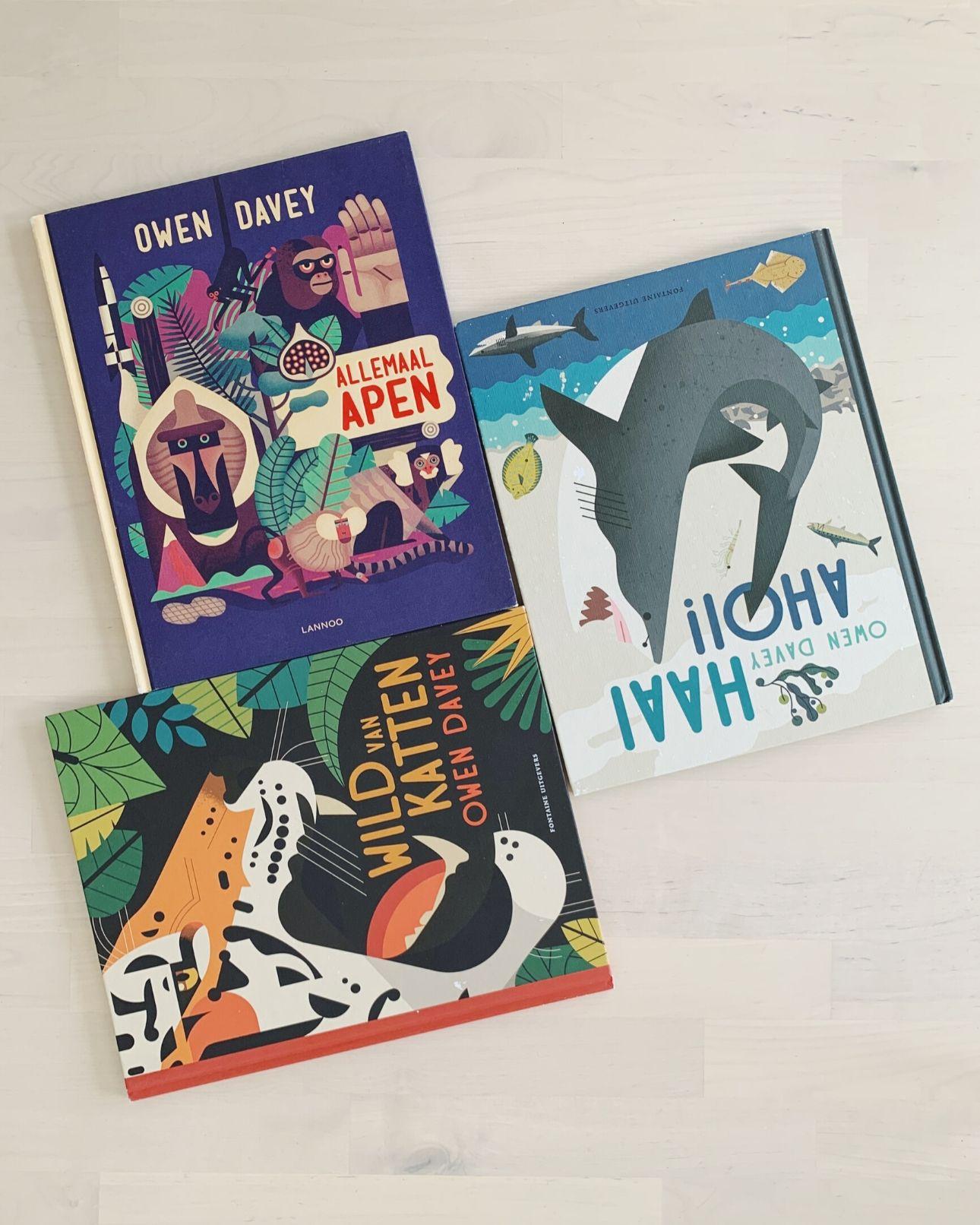 Kinderboeken Owen Davey haai ahoi allemaal apen wild van katten