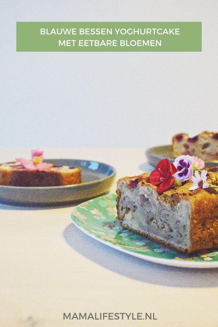 Pinterest - blauwe bessen yoghurt cake eetbare bloemen